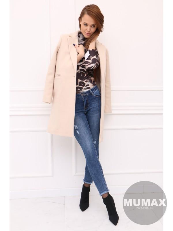 Elegantný krémovy kabát