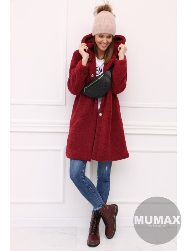 Bordový oversize huňatý kabát