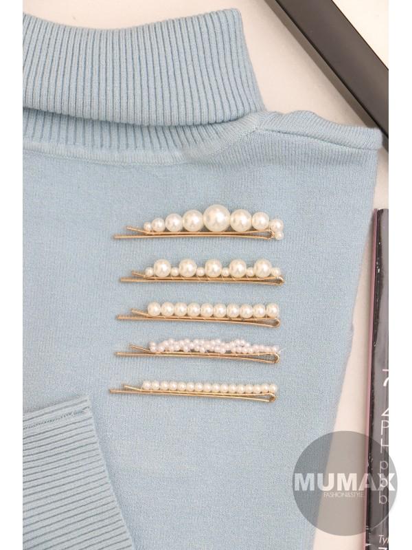 Zlaté ozdobné sponky s perličkami