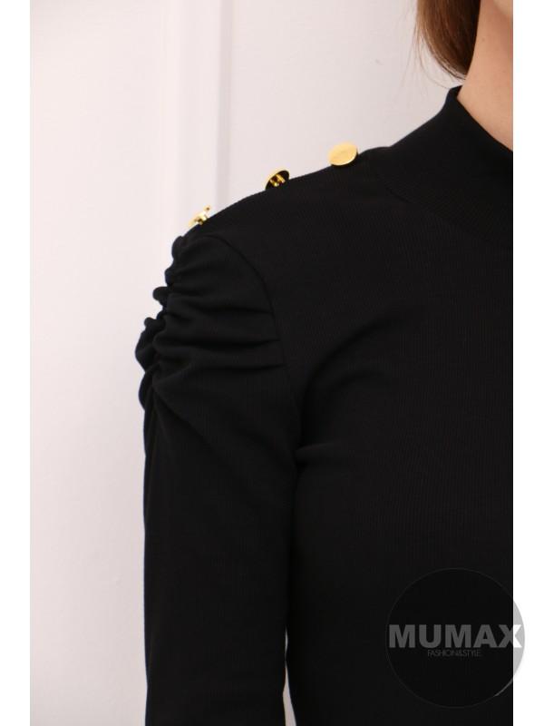 Čierné šaty s gombíkmi