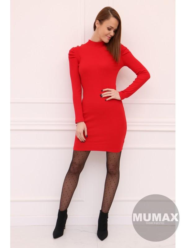 Červené šaty s gombíkmi