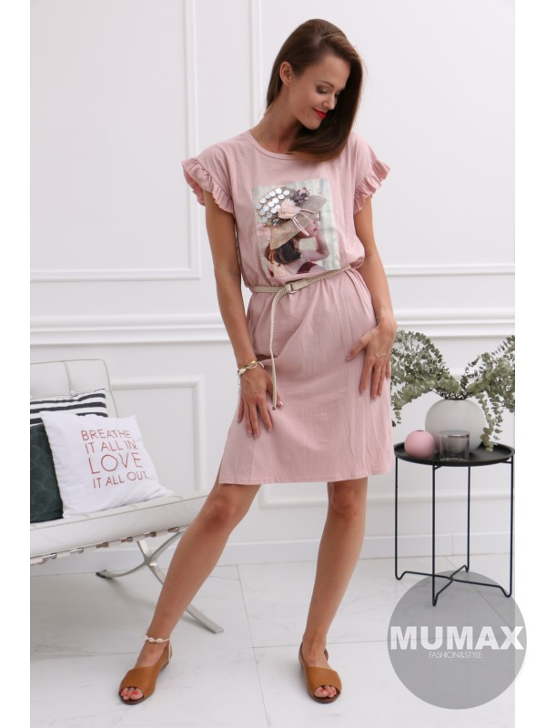 Dámske ružové bavlnené šaty
