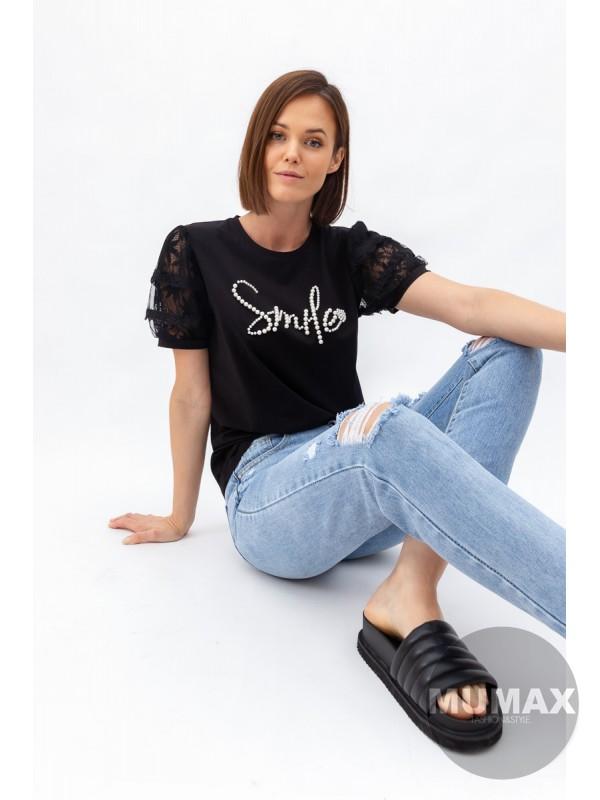 Tričko s perličkami Smile