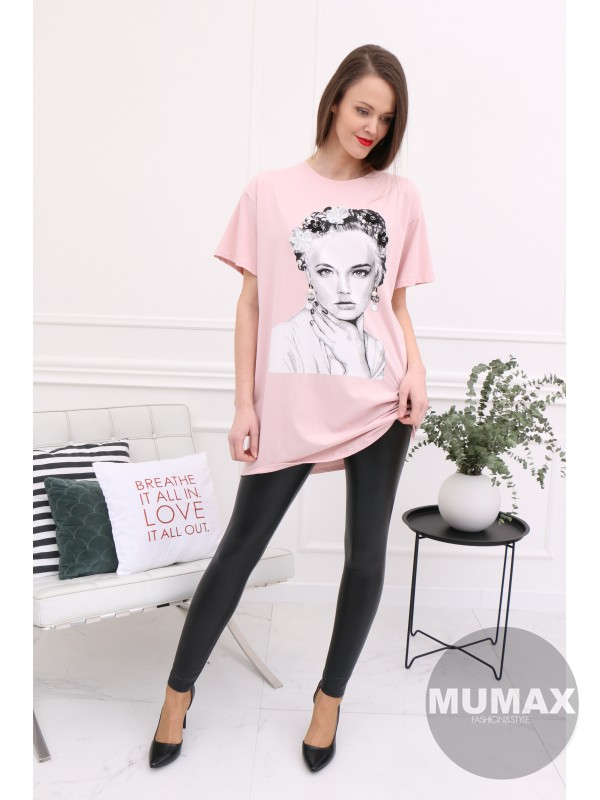 Dámske ružové predlžené tričko