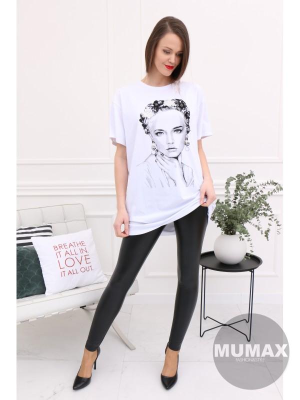 Dámske biele predlžené tričko