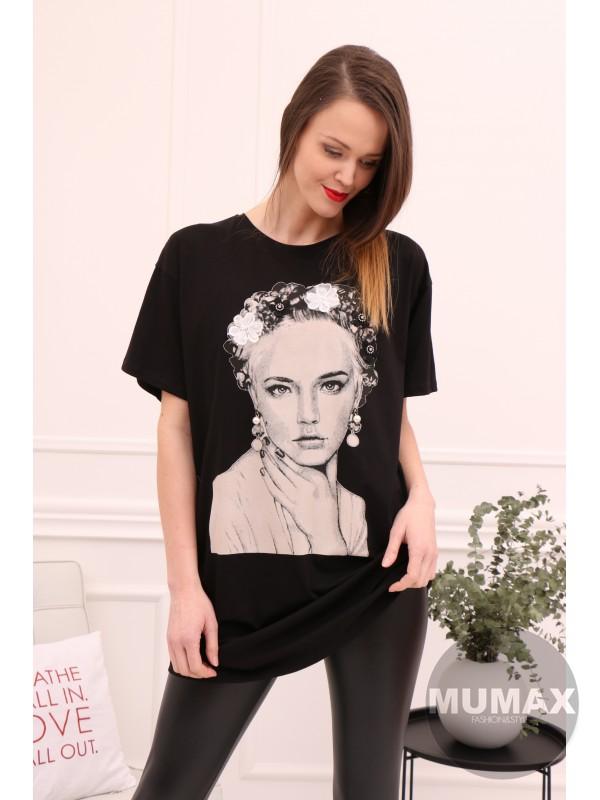 Dámske čierne predlžené tričko