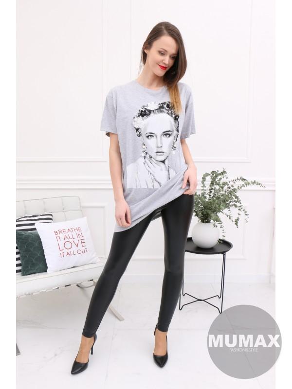 Dámske sivé predlžené tričko