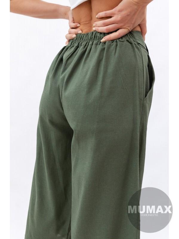Ľanové široké nohavice