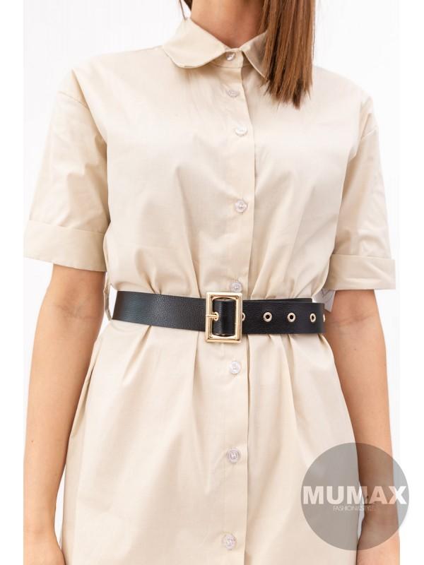 Košeľové šaty s opaskom béžové