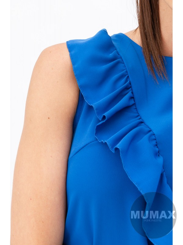 Šaty s volánom a opaskom modré