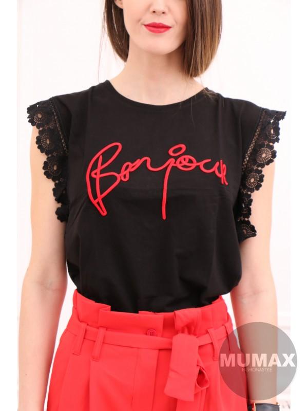 Čierne tričko Bonjour