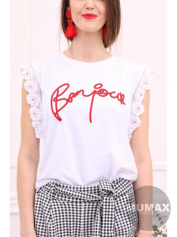 Biele tričko Bonjour