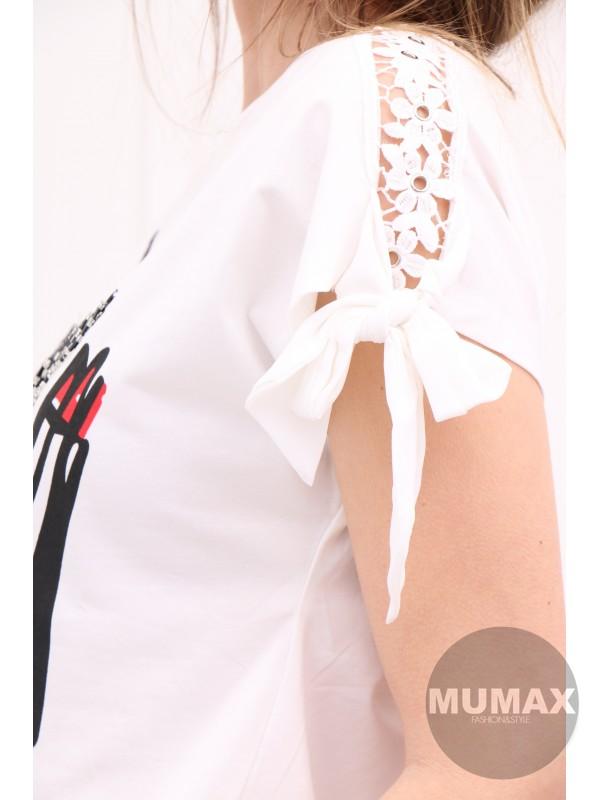 Biele tričko s 3D mihalnicami