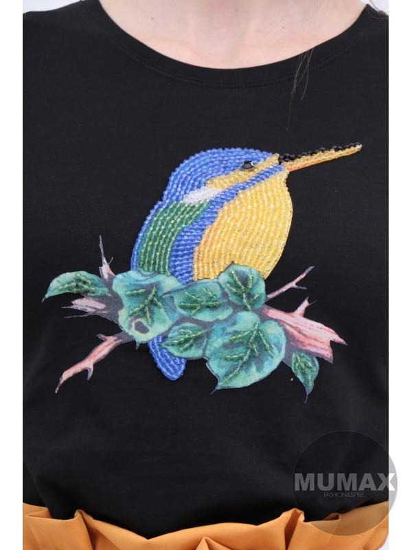 Čierne tričko s vtáčikom