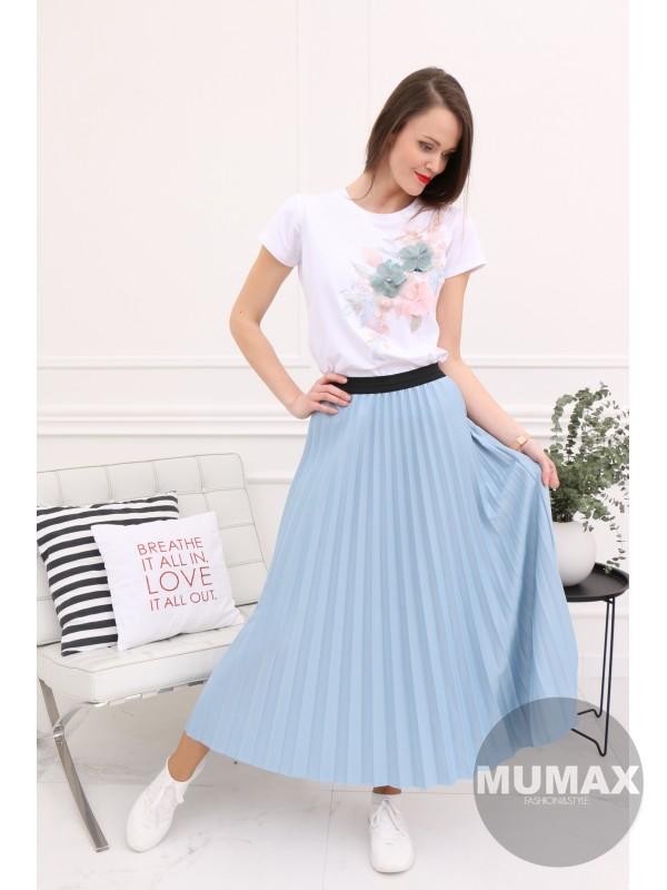 Modrá plisovaná sukňa