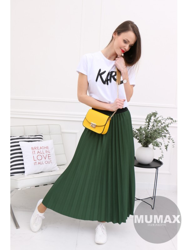 Smaragdová plisovaná sukňa