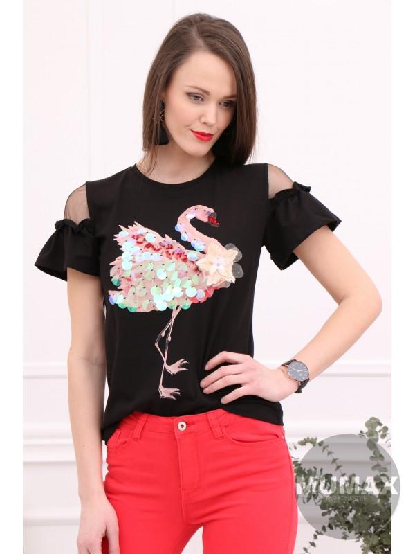 Čierne tričko s plameniakom