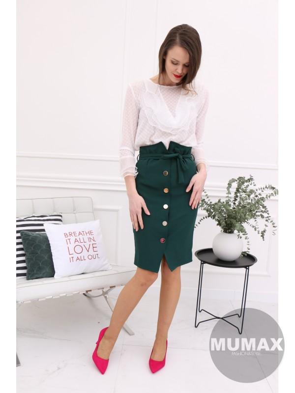 Smaragdová sukňa s gombíkmi