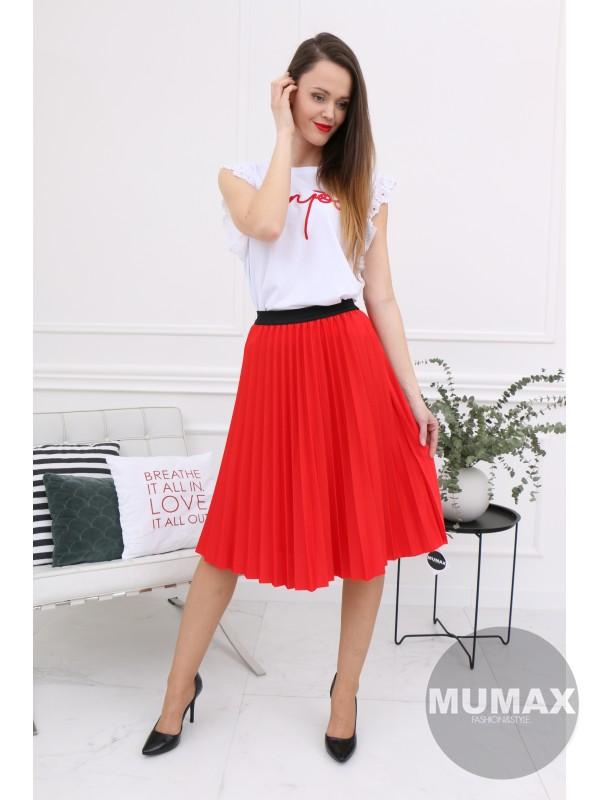 Červená plisovaná suknička