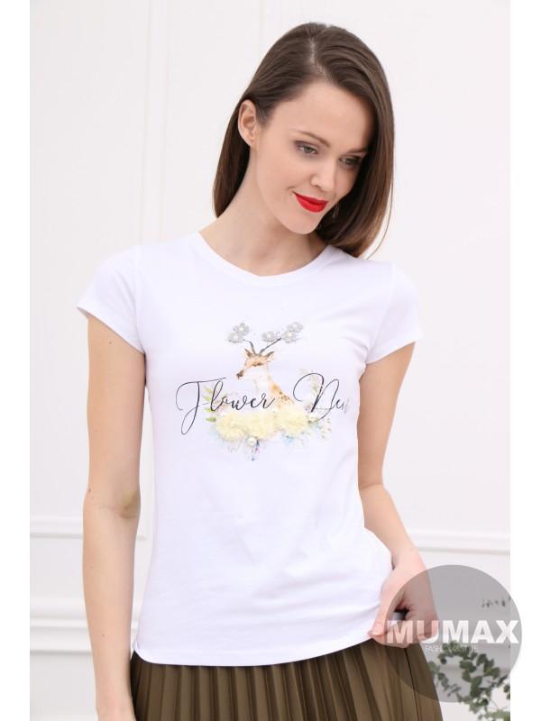 Biele tričko s jeleňom