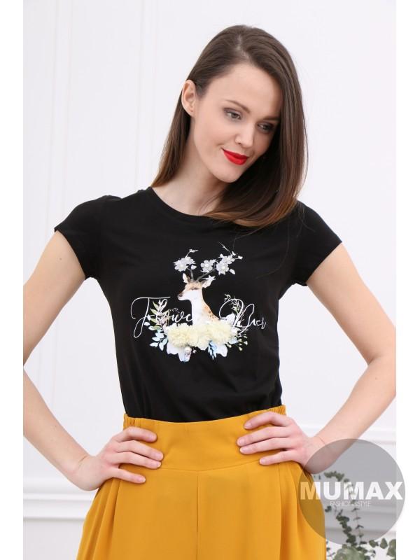 Čierne tričko s jeleňom