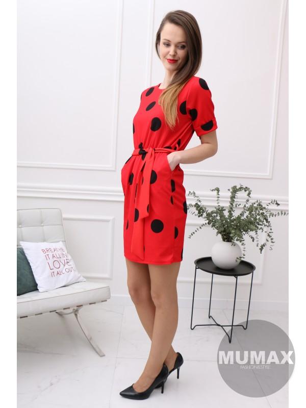 Bodkované šaty červené