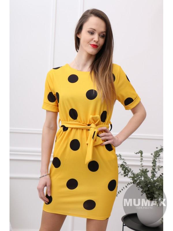 Bodkované šaty žlté