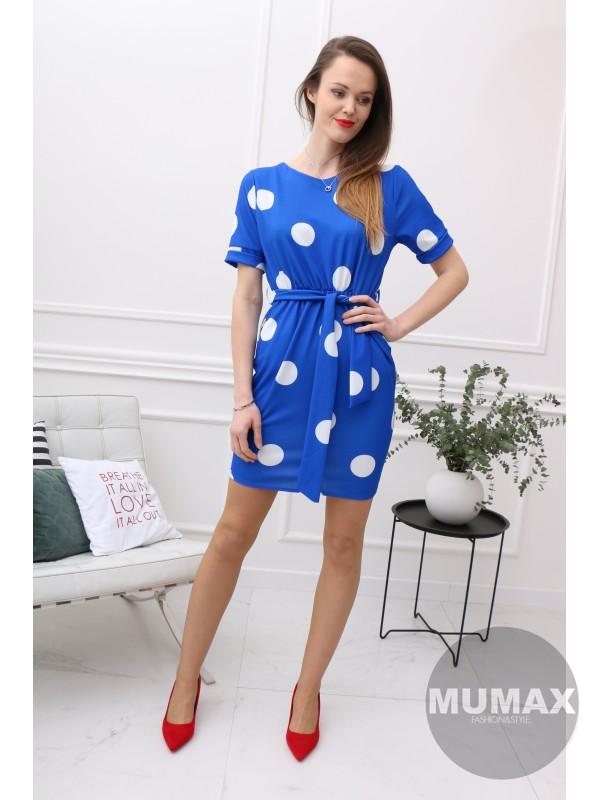 Bodkované šaty modré