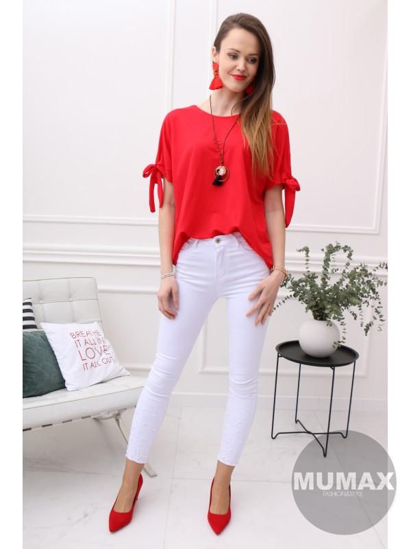 Červené tričko s viazaním