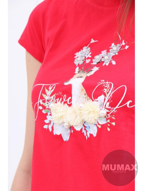 Červené tričko s jeleňom