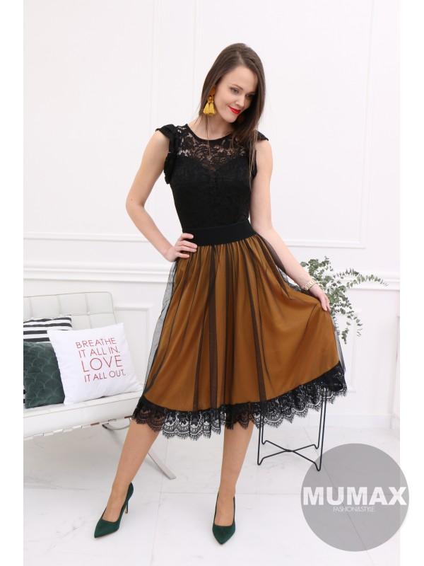 Horčicová sukňa s krajkou
