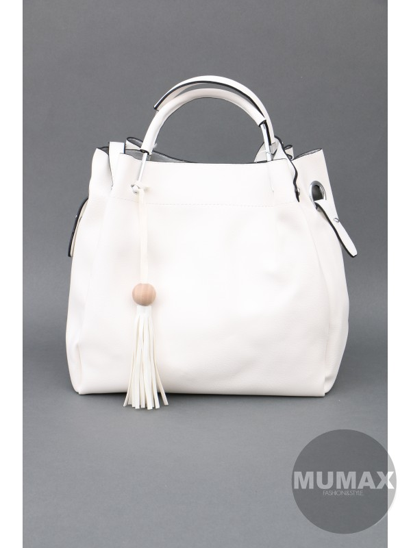 Biela kabelka s pevnou ručkou