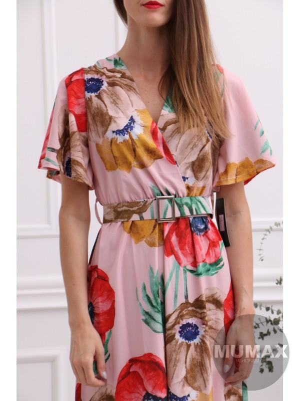 Dámske  svetloružové šaty s kvetmi