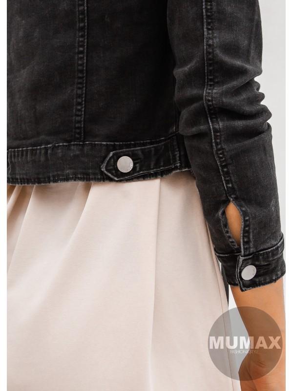 Rifľová bunda opraného vzhľadu čierna